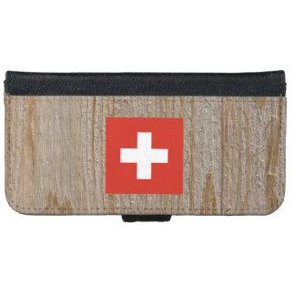 Caja de la bandera de Suiza del diseñador Funda Cartera Para iPhone 6