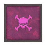 Caja de la baratija con el cráneo rosado en corazo caja de joyas de calidad