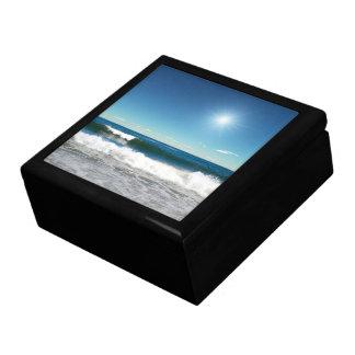 Caja de la baratija de las olas oceánicas joyero cuadrado grande