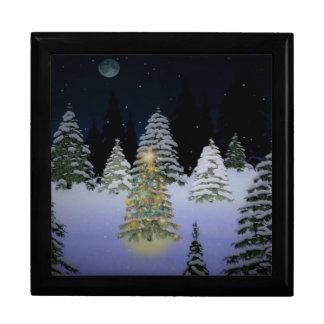 Caja de la baratija del árbol de navidad joyero cuadrado grande