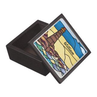 Caja de la baratija del faro 3x3 cajas de recuerdo de calidad