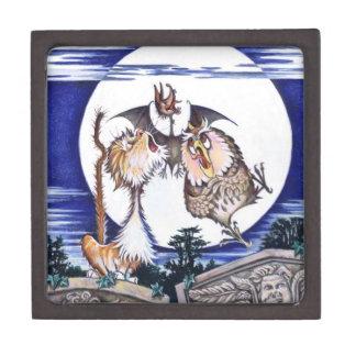 Caja de la baratija del gato, del palo y del búho  caja de regalo de calidad