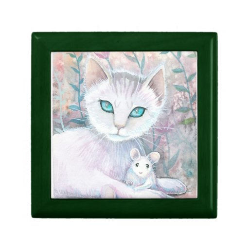 Caja de la baratija del gato y del ratón caja de regalo