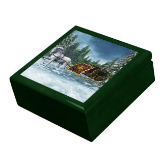 Caja de la baratija del trineo del navidad joyero cuadrado grande