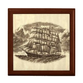 Caja de la baratija del velero de la talla joyero cuadrado grande