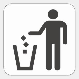 Caja de la basura pegatina cuadrada