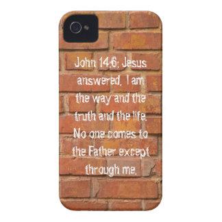 Caja de la baya del negro del 14:6 de Juan iPhone 4 Fundas