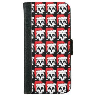 Caja de la cartera de Iphone 6 del cráneo del Funda Cartera Para iPhone 6