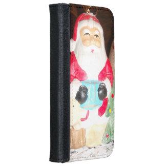 Caja de la cartera de Santa buenas fiestas Funda Cartera Para iPhone 6