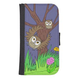 caja de la cartera del teléfono de los búhos cartera para galaxy s4