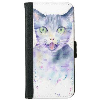 Caja de la cartera del teléfono del gato de la funda cartera para iPhone 6