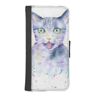 Caja de la cartera del teléfono del gato de la funda tipo billetera para iPhone 5