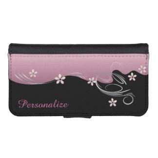 Caja de la cartera - diseño rosado florido floral billetera para teléfono