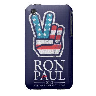 Caja de la casamata de la paz de Ron Paul iPhone 3 Cobreturas
