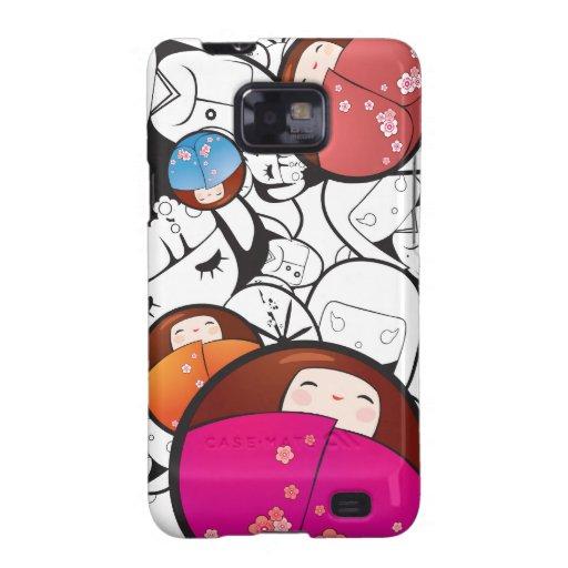 Caja de la casamata de las muñecas de Kokeshi Samsung Galaxy S2 Carcasas