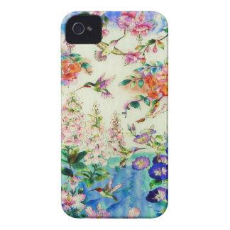 Caja de la casamata de los colibríes y de las flor Case-Mate iPhone 4 protector