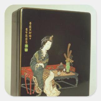 caja de la escritura del Chino-estilo Pegatina Cuadrada