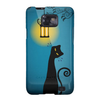 Caja de la galaxia de Samsung del gato negro Funda Para Samsung Galaxy SII