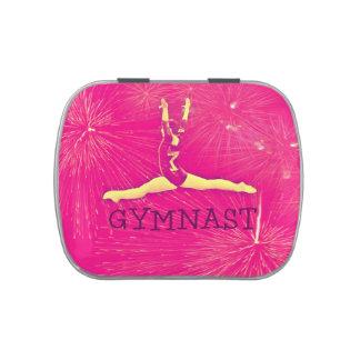Caja de la lata del gimnasta frascos de caramelos