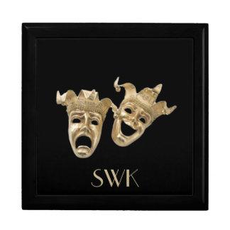 Caja de la máscara del monograma de la comedia y d cajas de regalo