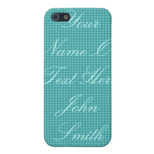 Caja de la mota de Checkerd del azul/del trullo iPhone 5 Protectores