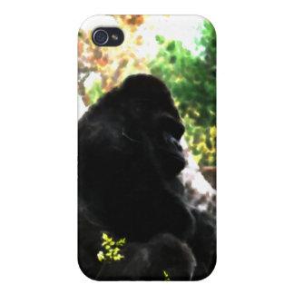 Caja de la mota de la acuarela del gorila iPhone 4/4S fundas