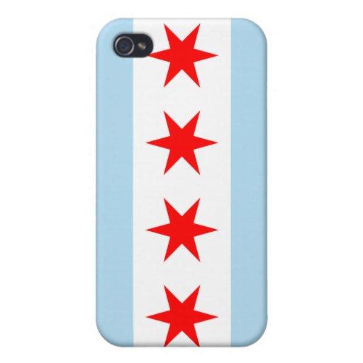 Caja de la mota de la bandera de Chicago iPhone 4 Protector