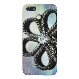 caja de la mota de la flor de la gema iPhone 5 fundas
