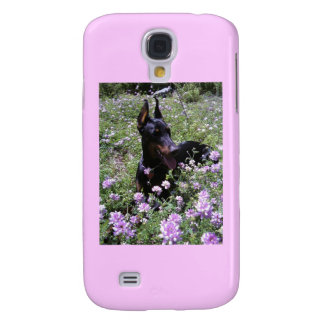 Caja de la mota de la flor salvaje del Doberman Funda Para Galaxy S4