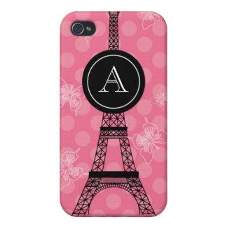 Caja de la mota de la torre Eiffel del monograma iPhone 4 Funda