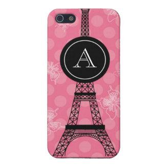 Caja de la mota de la torre Eiffel del monograma iPhone 5 Cárcasas