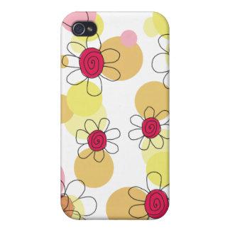 Caja de la mota de las flores y de las burbujas de iPhone 4 funda
