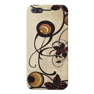 Caja de la mota de las flores y de los círculos de iPhone 5 cobertura
