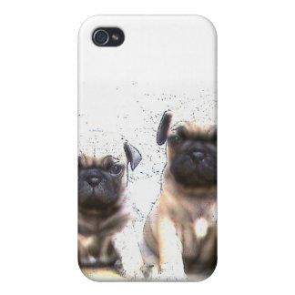 Caja de la mota de los perritos del barro amasado iPhone 4 protectores