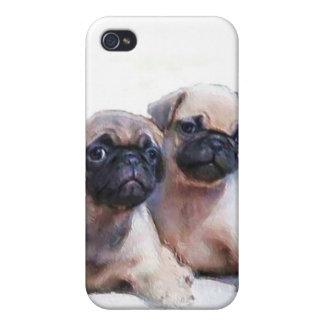 Caja de la mota de los perritos del barro amasado iPhone 4 carcasas