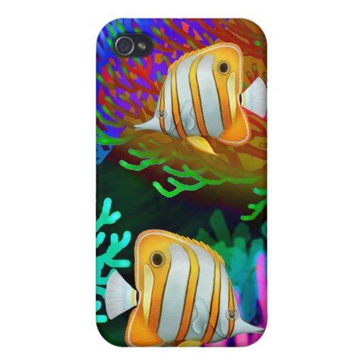 Caja de la mota de los pescados de la mariposa de  iPhone 4 protectores