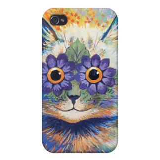 Caja de la mota del gato de la flor del Hippie de  iPhone 4/4S Carcasas
