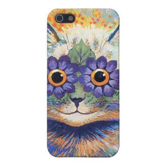 Caja de la mota del gato de la flor del Hippie de iPhone 5 Carcasa
