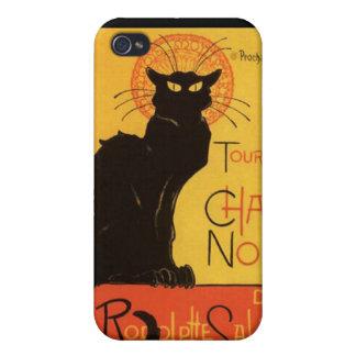 Caja de la mota del gato negro Iphone4 iPhone 4/4S Funda