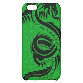 Caja de la mota del iPhone 4 4s del dragón verde