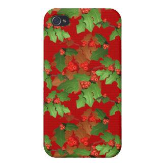 Caja de la mota del iPhone del acebo del navidad iPhone 4/4S Carcasas