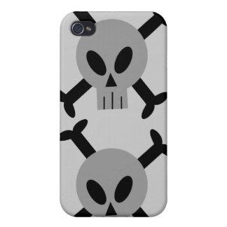 Caja de la mota del iPhone gris 4 del cráneo y de iPhone 4/4S Carcasa