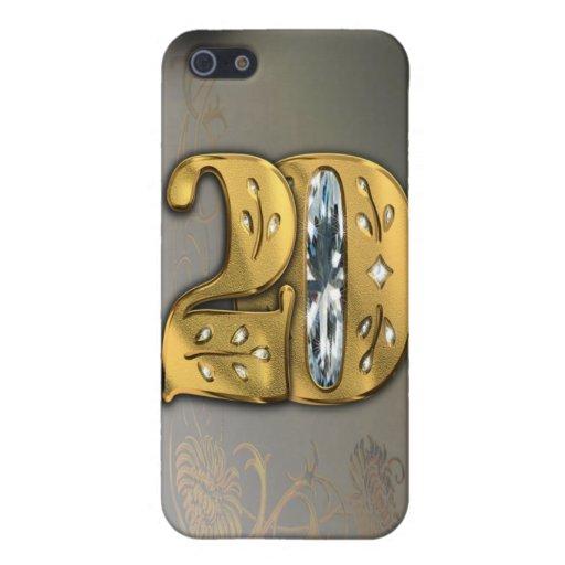 caja de la mota del número 20 del oro del Victoria iPhone 5 Carcasas