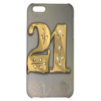 caja de la mota del número 21 del oro del Victoria