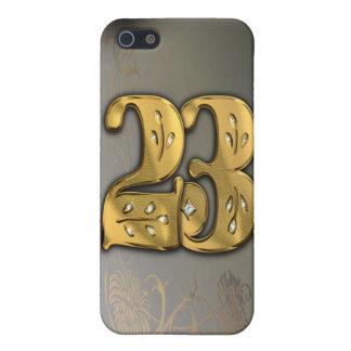 caja de la mota del número 23 del oro del Victoria iPhone 5 Funda