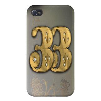 caja de la mota del número 33 del oro del Victoria iPhone 4 Protector