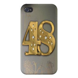 caja de la mota del número 48 del oro del Victoria iPhone 4/4S Carcasa