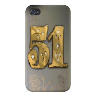 caja de la mota del número 51 del oro del Victoria iPhone 4 Funda