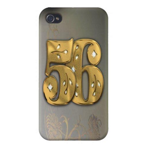 caja de la mota del número 56 del oro del Victoria iPhone 4 Fundas