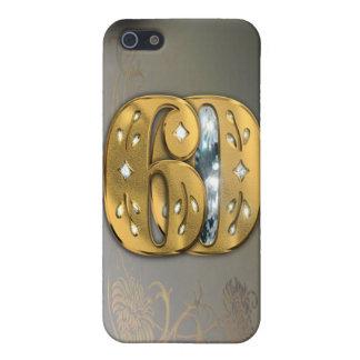 caja de la mota del número 60 del oro del Victoria iPhone 5 Cobertura